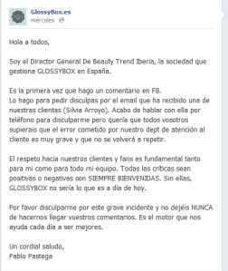 Respuesta Director General de GlossyBox